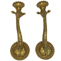 1970s Italian Gold-Plated Brass Giraffe Candlestick Sconces, Pair