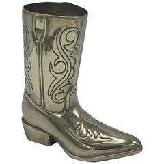 1970s Brass Cowboy Boot Sculpture Cachepot Vase