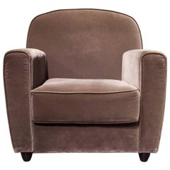 Contemporary Velvet-Covered Vigilius Club Chair by Driade in Gray
