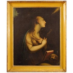 18th Century French Religious Painting Mary Magdalene Oil on Canvas