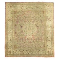 Pink Antique Indian Amritsar Square Rug