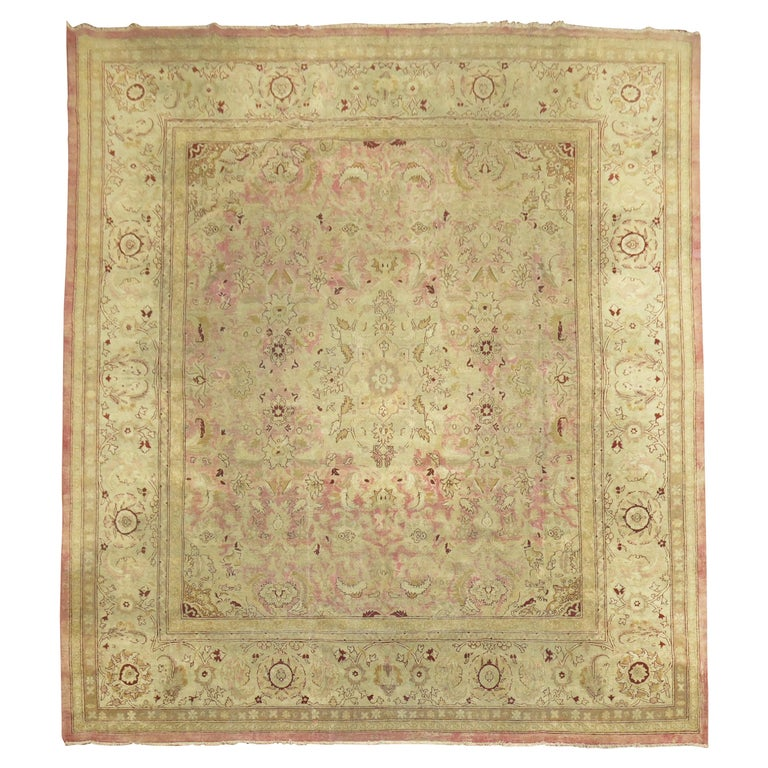 Pink Antique Indian Amritsar Square Rug For Sale At 1stdibs