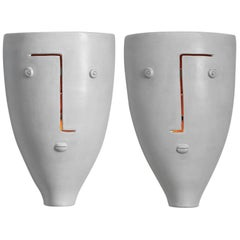 Large Pair of Ceramic Wall Lamps Signed by Dalo