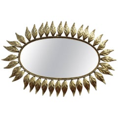 Spanish Gilt Metal Sunburst Mirror, circa 1960s