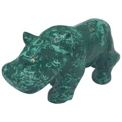 1960s Malachite Hippo Sculpture