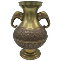 1970s Brass Urn with Elephant Handles