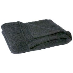Small Cable Knit Angora, Merino Wool and Trevira Throw, Anthracite