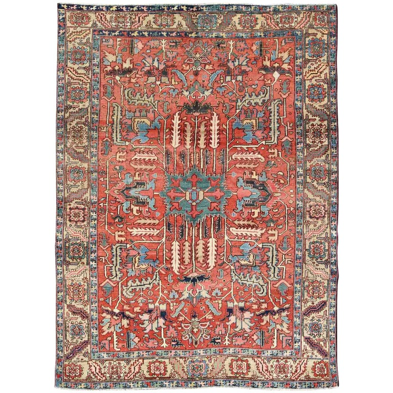 Antique Heriz-Serapi Rug With Cross-Shaped Center