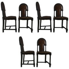 Set of Six Chairs in Darken Wood and Studded Brown Leather, Vienna, circa 1920