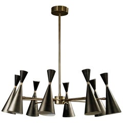 """Petite Monolith"" Italian Modern Brass Chandelier by Blueprint LIghting, 2017"