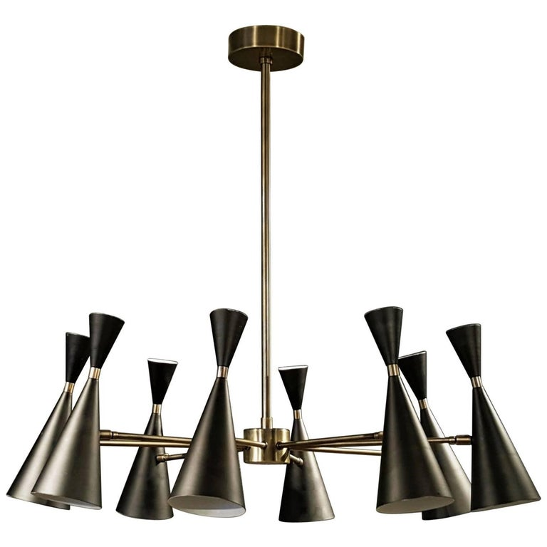 """Petite Monolith"" Italian Modern Brass Chandelier by Blueprint LIghting, 2017 For Sale"