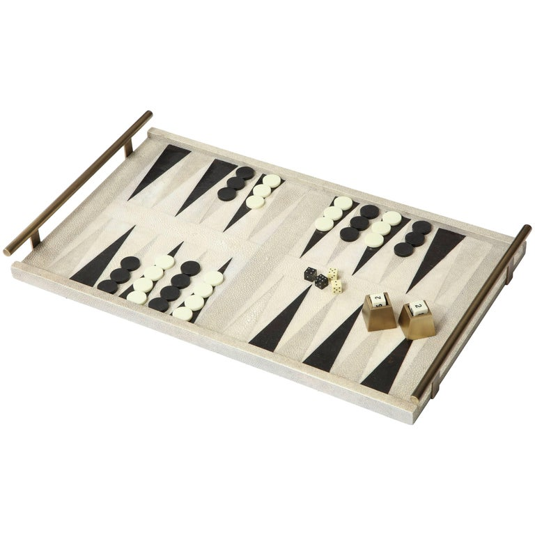 Shagreen Backgammon Game With Bronze Details