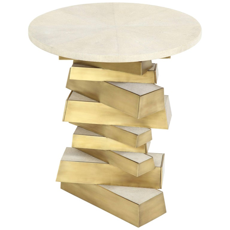 Shagreen and Bronze Side Table, Offered by Area ID 1
