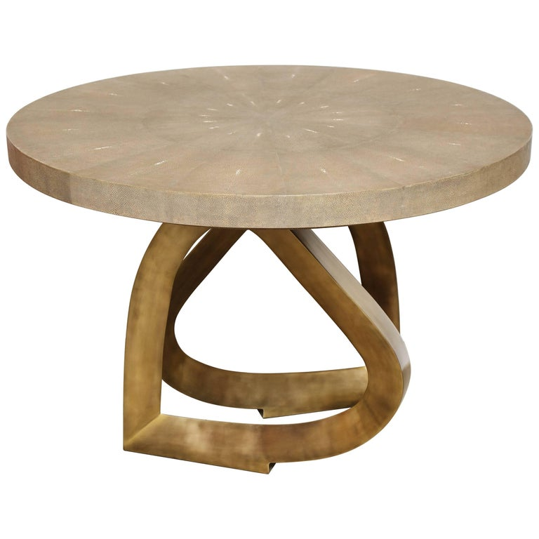 Shagreen Dining Room Table with Bronze Base, Offered by Area ID 1