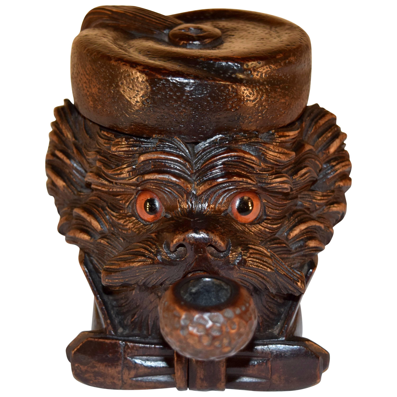 19th Century Black Forest Dog Humidor