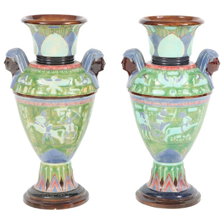 Pair Of Egyptian Revival Ceramic Vases For Sale At 1stdibs