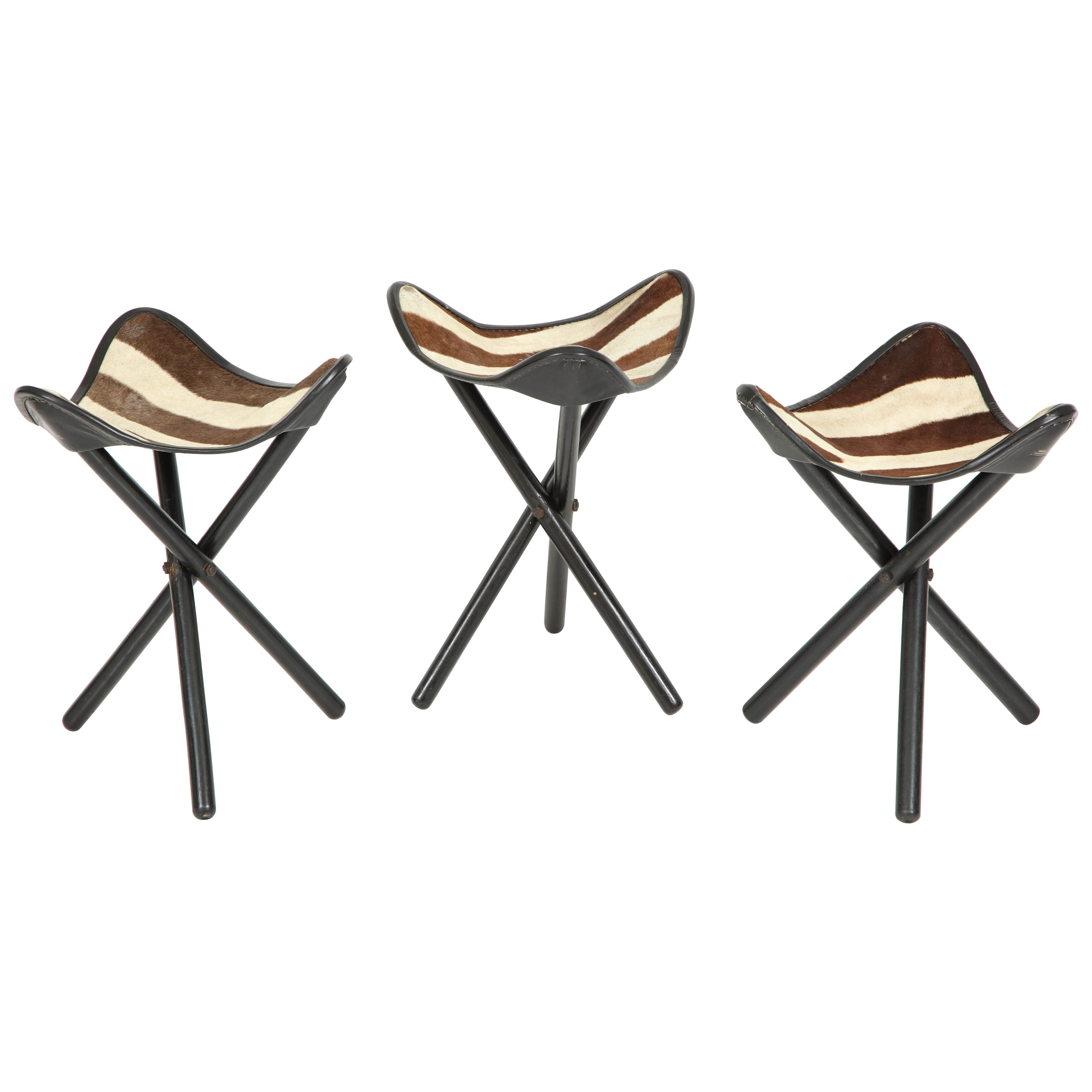 Zimmerman of nairobi zebra campaign stools for sale at 1stdibs