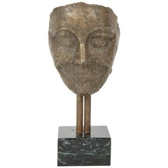 Bronze Mask on Marble Plinth