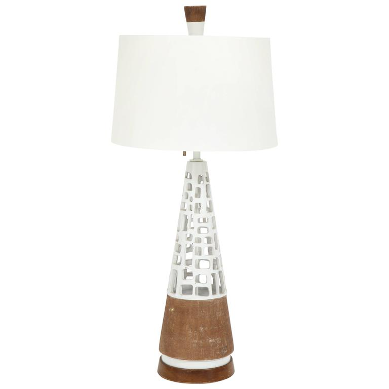 Glazed and Raw Terra Cotta Lamp For Sale