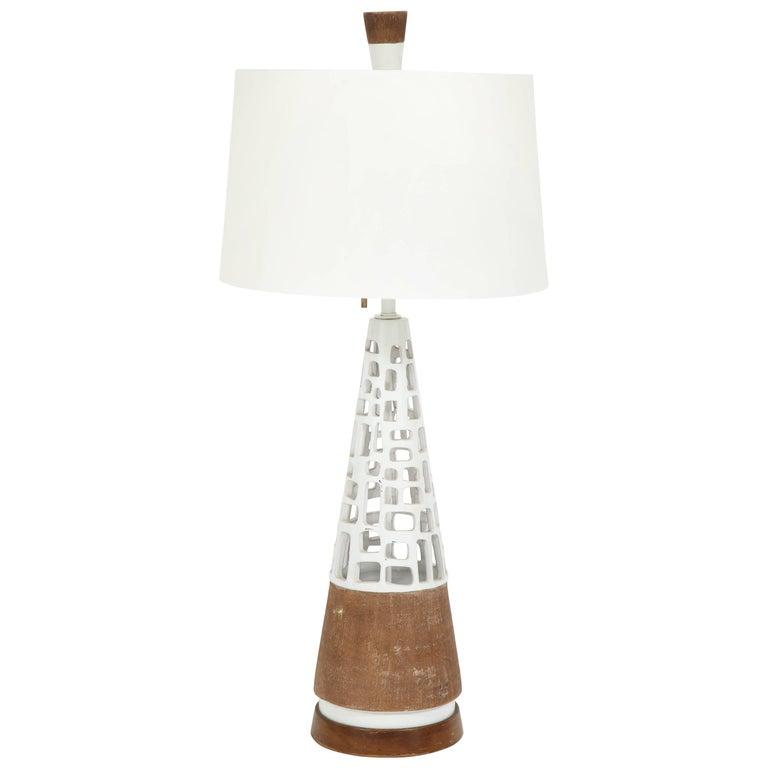 Glazed and Raw Terra Cotta Lamp
