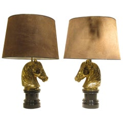 Pair of Horse Head Table Lamps by Maison Charles