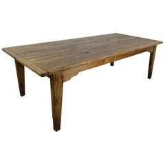 Exceptionally Deep Antique Pine Farm Table, Thick Top and Breadboard Ends