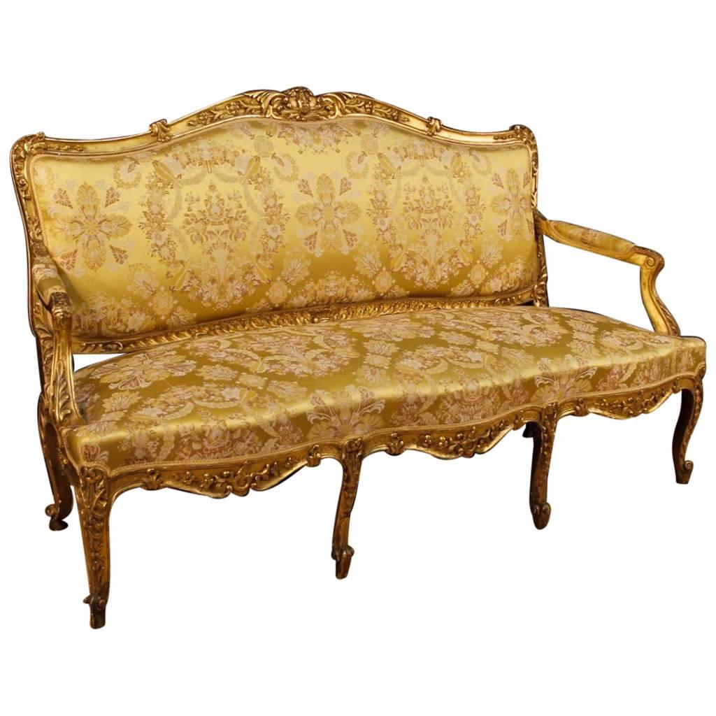19th Century French Sofa In Giltwood In Louis XV Style 1