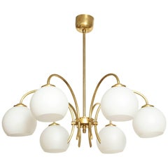Danish Six Arched Arm Brass and Milk Glass Chandelier, circa 1960s