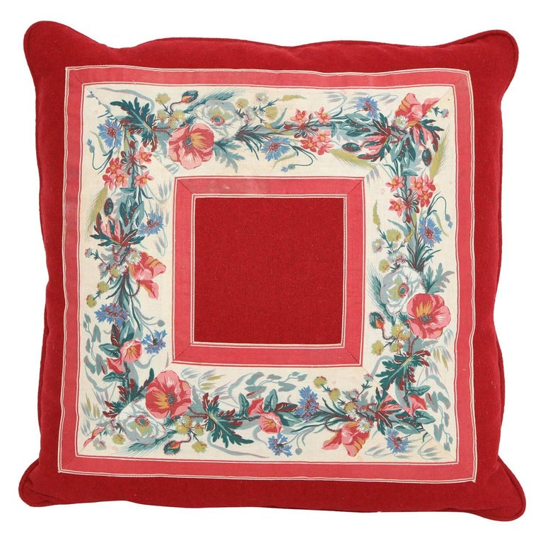 Vintage Floral Trim Pillow For Sale