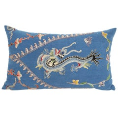 Vintage Dark Blue Japanese Theatre Kimono Pillow