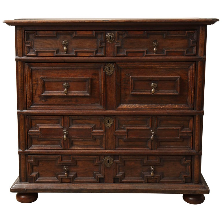 18th Century English Oak Chest For Sale