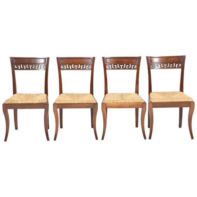 Set of Four Mahogany Chairs with Rush Seats For Sale