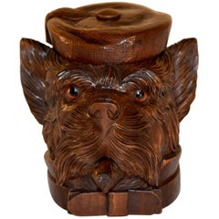 19th Century Black Forest Carved Dog Humidor