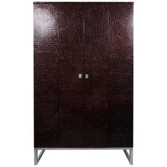 Art Deco Inspired Contemporary Leather Cabinet on Polished Steel Base