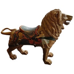Early 20th Century Carved Wooden Fairground Carousel Lion Figure