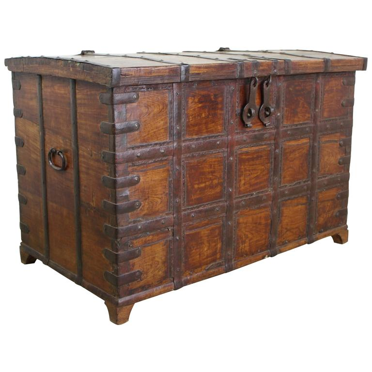 Antique French Elm Coffer/Trunk with Iron Strap Work For Sale