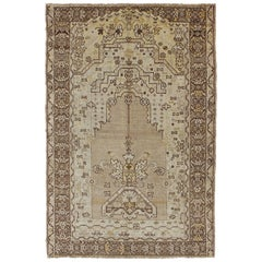 1920s Antique Turkish Oushak Prayer Rug with Flowers in Ivory, Taupe and Cream