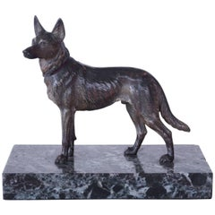 Cold Painted Bronze Figure of a German Shepherd Dog