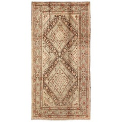 Early 20th Century Antique Khotan Rug with Paired Diamond Medallions in Brown