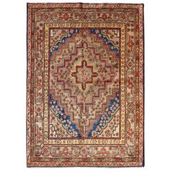 Taupe Background Antique Khotan Rug with Repeating Medallion Pattern