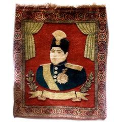 Early 20th Century Kashan Small Rug of Ahmad Shah Qajar