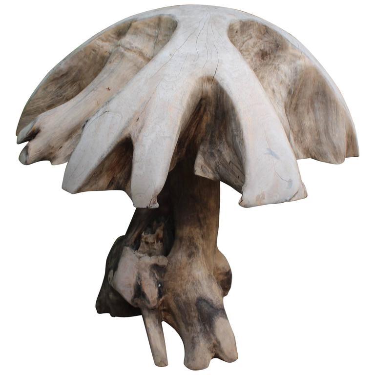 Organic Teak Sculptural Expression as Mushroom For Sale