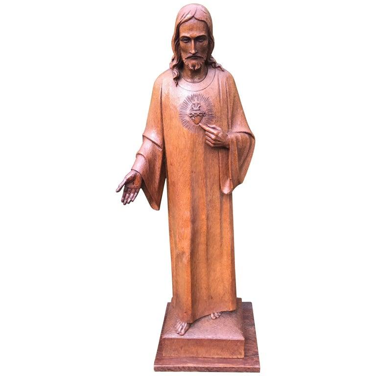 Antique Carved Oak Sacred Heart Statue Wooden Christ Sculpture