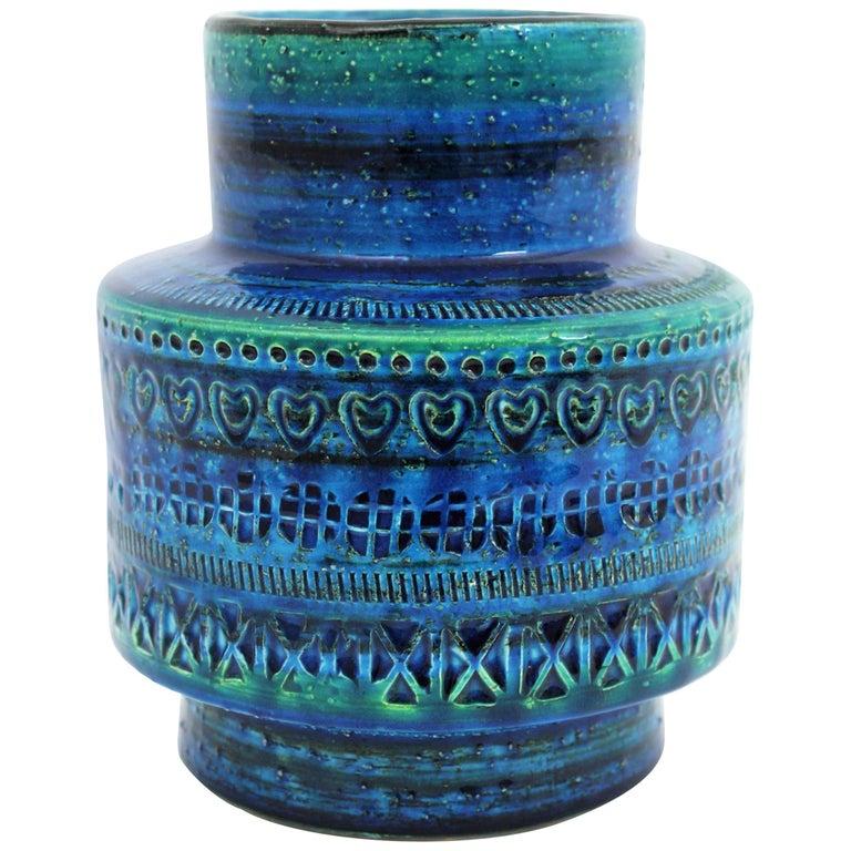 1960s Aldo Londi for Bitossi Rimini Blue Glazed Ceramic Vase