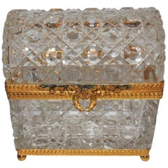 French Ormolu Faceted Cut Crystal Dome Ormolu Wreath Bow Box Casket Jewelry Case