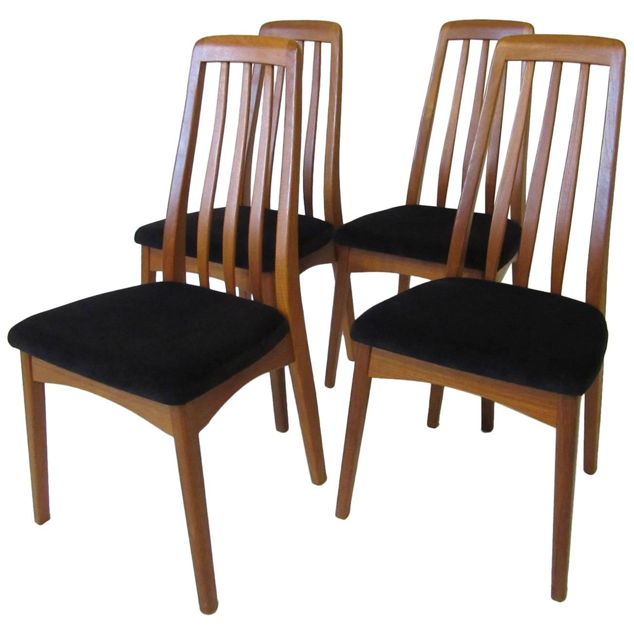 Danish Teak Wood High Back Upholstered Dining Chairs For Sale