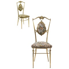Exceptional Italian 1950 Vintage Pair of Chairs in the Style of Chiavari