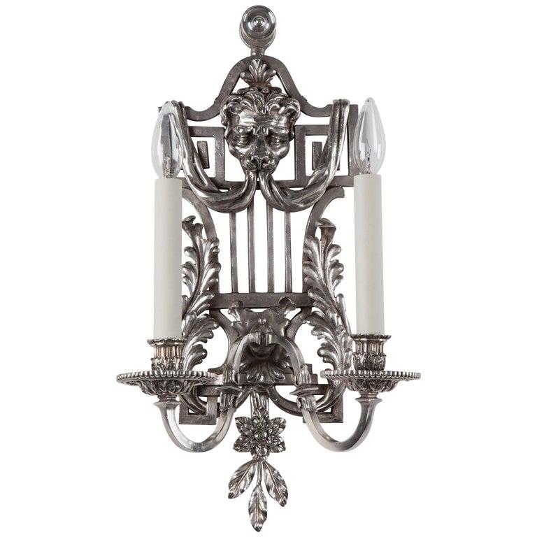 Silver Plate Sconces, circa 1900 1