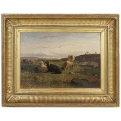 Oil on Panel, Barbizon School « The Sheeps » sign by William Baird Circa 1880