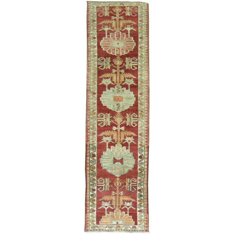 Vintage Turkish Anatolian Red Runner